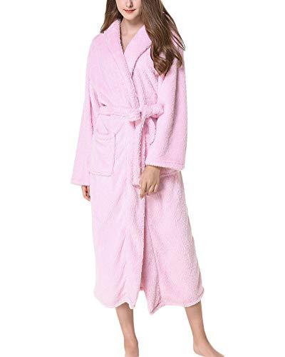 Albornoz De Baño,Suave Absorbente Y Cómodo para Mujer Y Hombre con Capucha Bata Pijama Túnica Pink M