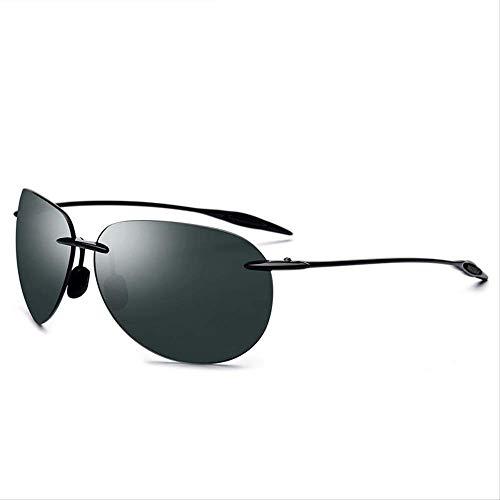 LKVNHP Neue Art UndWeise Ultem Tr90 Randlos -Sonnenbrille -Männer Ultra Männlich Qualitäts Mirrored Aviation Damen -Sonnenbrillen Nylon ObjektivDark Green