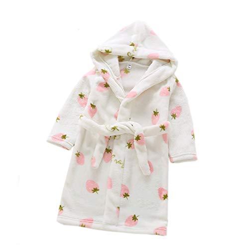 XINNE Jungen Mädchen Kapuzen-Bademantel Unisex Kleinkinder Morgenmantel Weichem Flanell Pyjamas Nachtwäsche Nachthemd Größe 100 Weiße Erdbeere