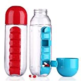 Dealcrox 2 in 1 Weekly Medicine 600ML Candy Pill Water Bottle Pill Box ORG