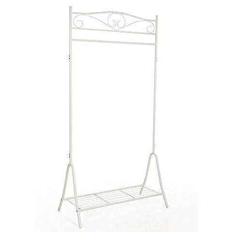 Songmics HSR01W Kleiderständer Kleiderstange Garderobenständer mit schuhablage, Metall, weiß, 90 x 44,5 x 173