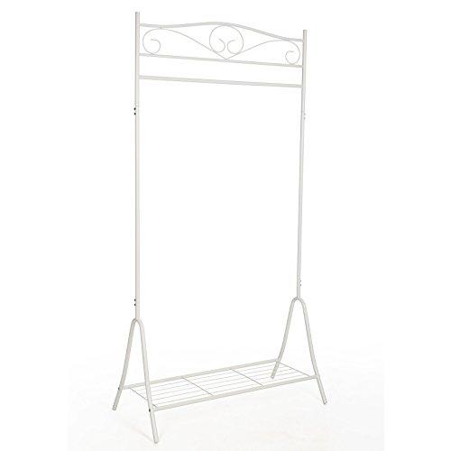 Songmics HSR01W Kleiderständer Kleiderstange Garderobenständer mit schuhablage, Metall, weiß, 90 x 44,5 x 173 cm