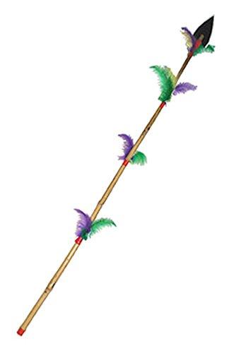 Confettery - Spielzeug Speer Indianer Kostüm Indianerkostüm Waffe mit Federn Bambus, Mehrfarbig
