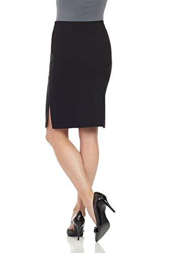 Rekucci Damen Seien Sie in Komfort bekleidet 23 Formdefinierender Bleistiftrock mit Seitenschlitzen Schwarz