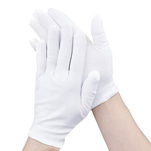 12 Paar 100% weiße Soft-Hand Baumwolle Feuchtigkeitsspendende Handschuhe Arbeitshandschuhe Arbeitshandschuhe Größe XL