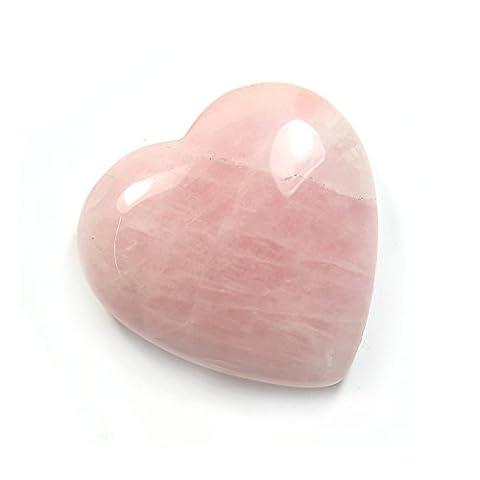 40mm poli de quartz rose Pierre précieuse Cœur