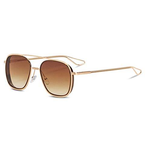 HQMGLASSES Double Beam Gradient Lens Sonnenbrille-Fashion Women Men Vintage Retro Gold Frame Aviator Brille UV400 Sun Glasses,04