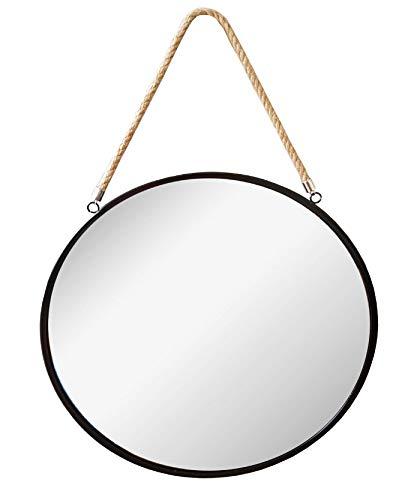 Provance Runder Spiegel Wand- Badezimmer Spiegel Dressing Spiegel, Spiegel, Badezimmer Dekoration, Hängenden Spiegel (Farbe : Schwarz, Größe : 43 cm Ø) -