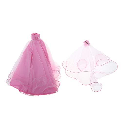 Baoblaze Elegante Puppe Kleid Trägerloses Hochzeitskleid Abendkleid mit Schleier aus Spitze Für 11...