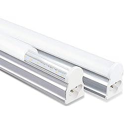 T5I60CW Tubo LED de 10W de 60cm con T5 Integrado, Paquete con 2 Unidades, Ahorro de Energía 6500K [Color Blanco Frío]