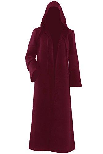 Herren Kapuzen Robe Umhang Ritter Fancy Cosplay (Kostüme Robe Rote)