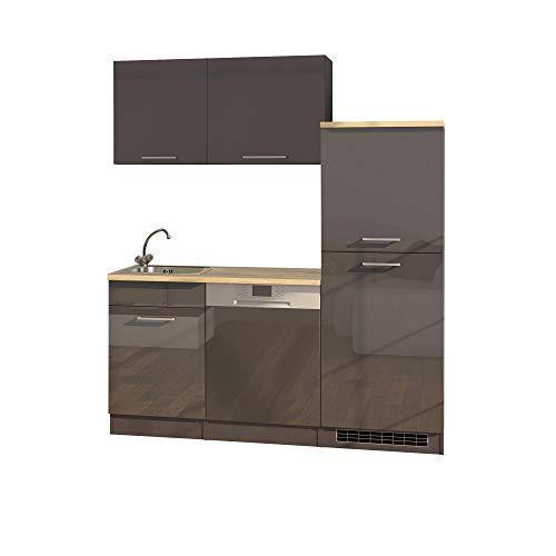 LIVATHA Büroküche MÜNCHEN - Küchenblock mit Geschirrspüler und Kühlschrank - 170 cm breit - Hochglanz Grau