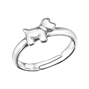 FIVE-D Kinderring Finger Ring Kleiner Hund Grösse einstellbar aus 925 Sterling Silber im Schmucketui