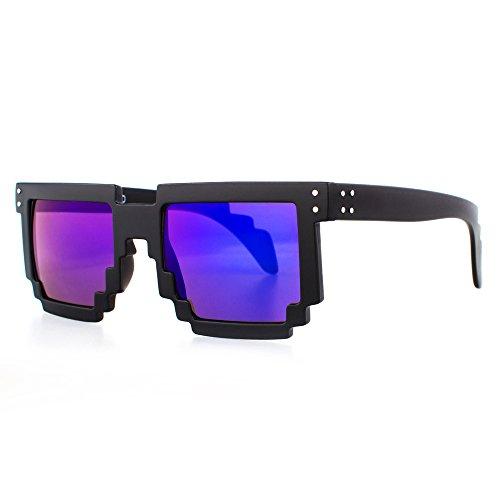 Distressed Pixel Sonnenbrille im Retro Stil 70er 80er (schwarz-blau/lila-verspiegelt)