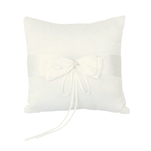 Faux Pearl Decorated Wedding Ring Pillow Cushion Bearer 20 x 20cm---Ivory
