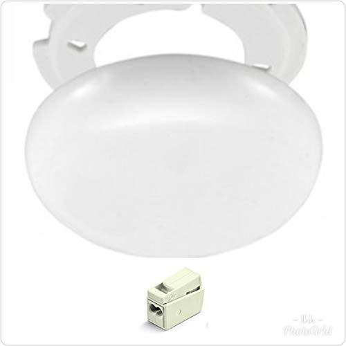 Lampe Abdeckung Set (Lampen Abzweigdosen, Verteilerdose, weiß, superflach, Ø 100, Höhe 1,5 cm - mit Wago Klemmen und Montage Set)
