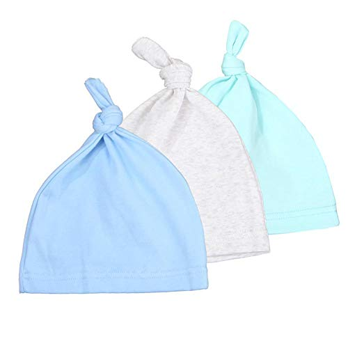 Gyratedream Neugeborenen Mütze 3 Pack Baby Beanie Knoten Hüte Einstellbare Baumwolle Caps für 0-24 Monate Baby -