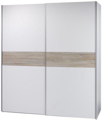 Stella Trading 58-305-87 Victor 4 Schwebetürenschrank Bauchbinde Eiche Sonoma Dekor, circa 215 x 210 x 63 cm, weiß