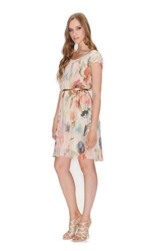 Leidiró L7071 corto vestito delle donne in finissima plissettatura leggera ed elegante Cipria 42