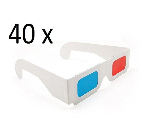 DARLINGTON & Sohns 40 Stück 3D Brillen Karton Einfache 3D-Brille Großpackung Rot Blau Cyan Anaglyphen Brillen 3D glases