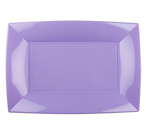 LILA • 345 x 230 mm • Einwegteller - als Mehrwegteller verwendbar • stabile Plastik-Platte • hochwertige Servierplatte • Servier-Teller • Plastikteller • Plastikgeschirr • PP (lila) ()