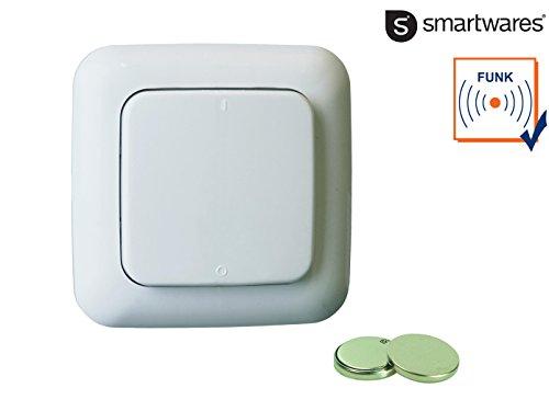 Preisvergleich Produktbild Fernbedienbarer Wandschalter, 1-Kanal-Funk-Wandschalter, bis 6 Empfänger, inklusive Batterie und 2 Ersatzbatterien