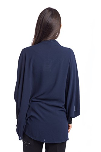 Abbino 3579 Damen Blazer Sakkos Jacken - Made in Italy - 4 Farben - Damenblazer Damenjacken Frühjahr Sommer Herbst Unifarben Polyester Hüftlang Locker Sitzend Feminin Sexy Sportlich Festlich Blau