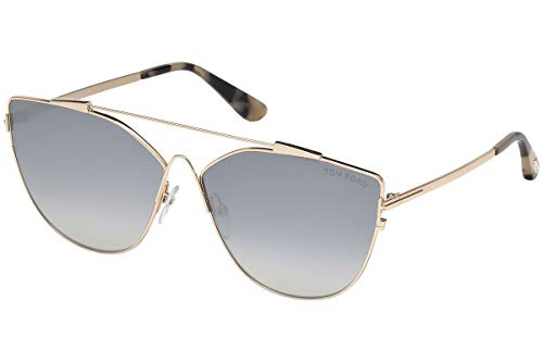 Tom Ford Unisex-Erwachsene FT0563 28C 64 Sonnenbrille, Gold (Oro Rosa Lucido/Fumo Specchiato),
