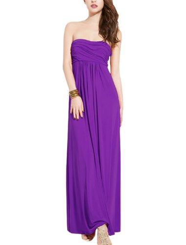 Sexyher froncée Femme Design Corset élégant robe taille Empire Violet - Violet