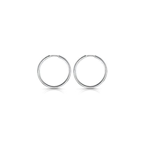 Amberta® 925 Plata De Ley Pendiente De Aro Fino Con Pendientes De Aro Sin Fin – Pendientes De Aro Tipo Criolla – Diámetro: 20 30 40 60 80 mm (20mm)