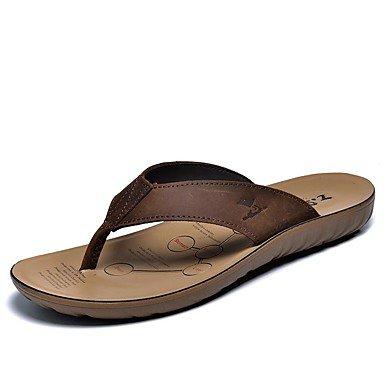Uomo Slippers & Primavera Estate Autunno Comfort pelle bovina abito all'aperto scarpe casual a monte, scuro sandali US5.5-6 / EU37 / UK4.5-5 / CN37