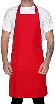 Mutfak Garson Aşçı Şef İş Önlüğü Boydan Askılı Unisex Kırmızı