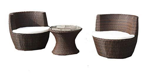 Set tavolo poltrone rattan marrone esterno cuscini bianchi | themis