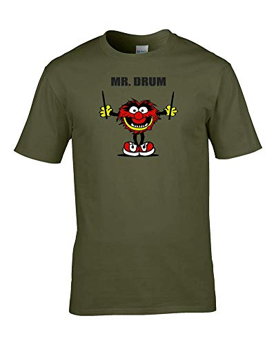 Ice-Tees MR Drum - Mr Men Drummer Parody, Funny Music Mens T Shirt