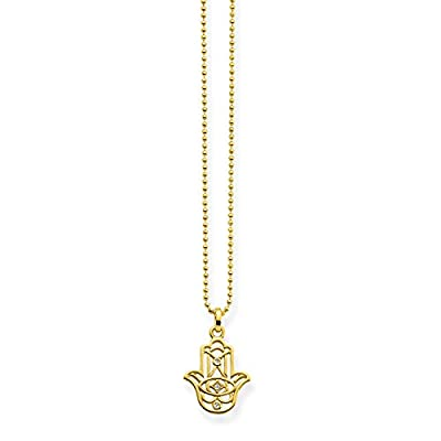 """Thomas Sabo """"Hand of Fatima Ornamentation"""" Gold Plated Yellow Gold/White Diamond Necklace of Length 45cm"""