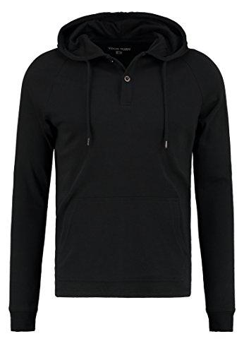 YOURTURN Hoodie Sweatshirt Herren Langarmshirt Schwarz, M (Langarm-henley Jungen)
