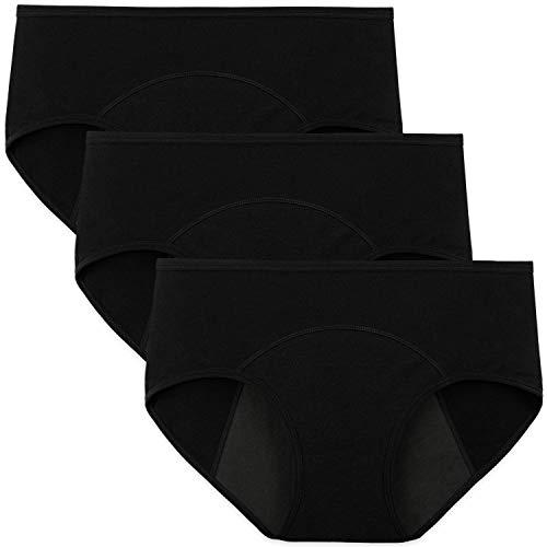 INNERSY Menstruations Unterhose Frauen Baumwolle Schwarz Perioden Slips 3er Pack (M-EU 40, Schwarz-dunkler Schritt)