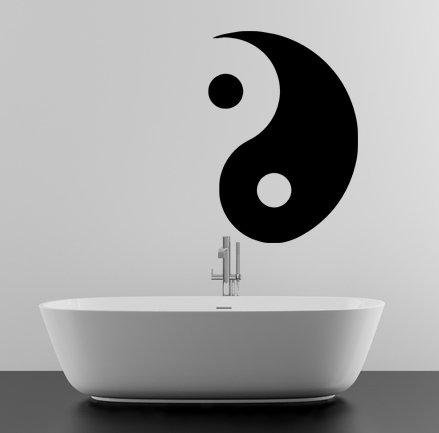 (42x60 cm) Vinile Da parete, Decalcomania Yin e Yang Simbolo / Taoismo Taoismo Decorazione D'interni Adesivo / Filosofia per Formazione Di Yoga FAI-DA-TE da parete + Gratis Casuale decalcomania Regalo