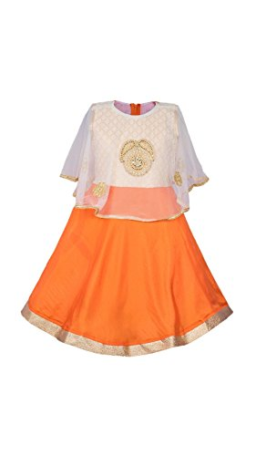 My Lil Princess Baby Girls Birthday Party wear Frock Dress_Orange Poncho_2-3 Years