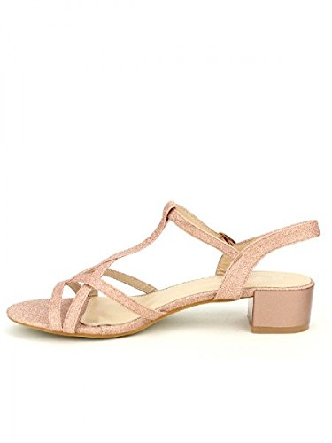 Cendriyon, Sandale color Champagne VEILIS Chaussures Femme Rose