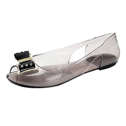 Hupoop Frauen Sommer Strass Transparent Kristall Sandalen Flache Quallen Mund Schuhe Gelee-Schuhe (Gold, 39)
