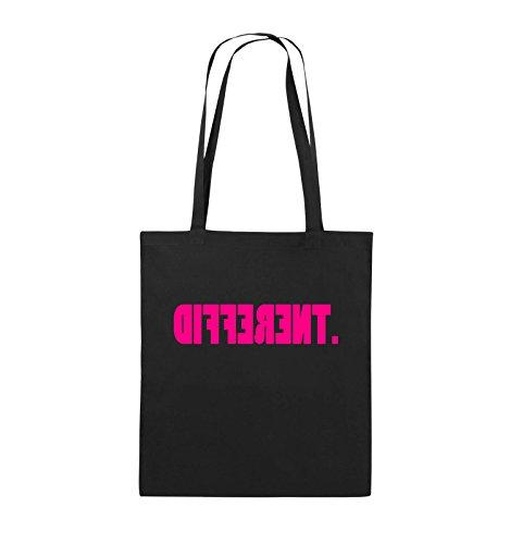 Comedy Bags - DIFFERENT - gespiegelt - Jutebeutel - lange Henkel - 38x42cm - Farbe: Schwarz / Pink Schwarz / Pink