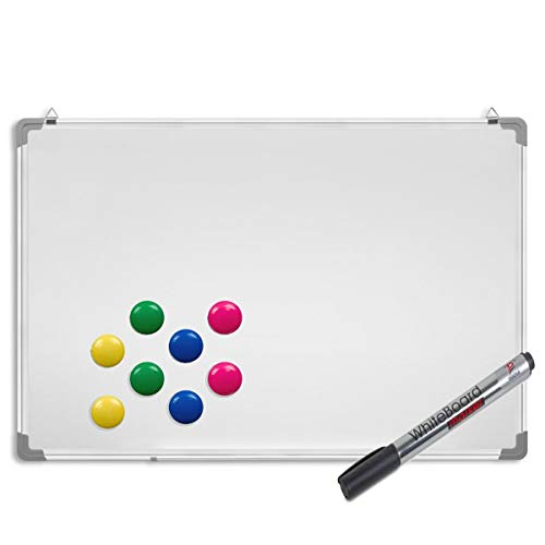 Whiteboard inkl. Marker und Magnete - Magnettafel mit Alurahmen und Stiftablage, magnetisch 90 x 60 cm