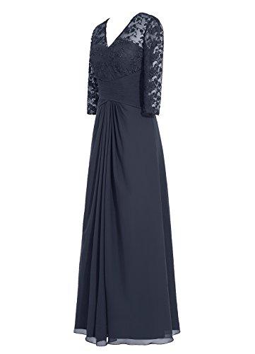 Dresstells Damen Abendkleider Bodenlang 3/4 Langer Ärmel Homecoming Kleider Purpur