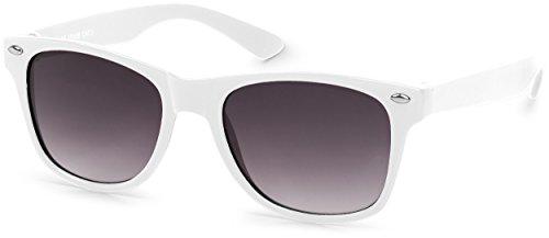 styleBREAKER Kinder Sonnenbrille, klassiches Retro, Nerd Design 09020056, Farbe:Gestell Weiß/Glas Grau Verlauf -