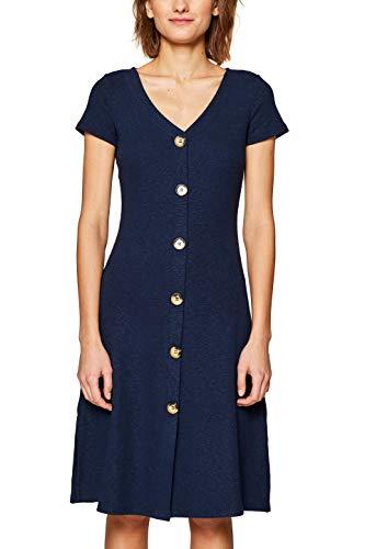 edc by ESPRIT Damen 049CC1E006 Kleid, Blau (Navy 400), X-Large (Herstellergröße: XL) -