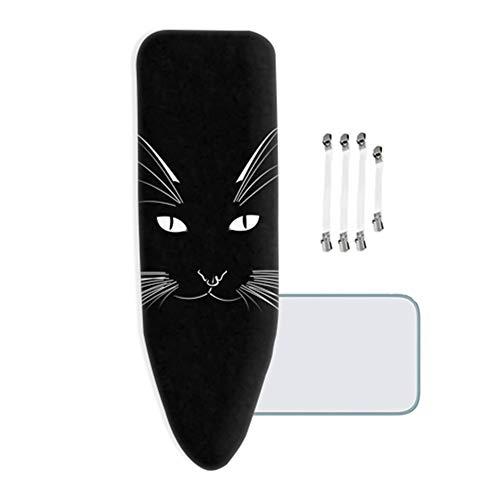 Mkmkm copriasse da stiro extra spessa, 100% cotone, xl/xxl, con 4 clip, black cat, easy fit - 160x60 cm