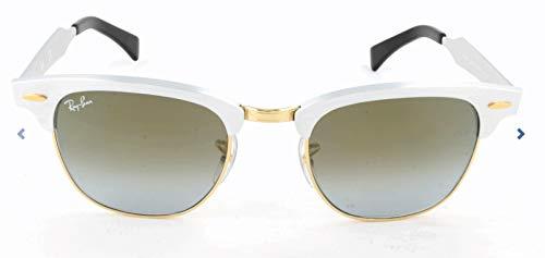 RAYBAN Unisex-Erwachsene Sonnenbrille Clubmaster Aluminum Mehrfarbig (Gestell: Silber,Gläser: blauverlauf 137/7Q)), Medium (Herstellergröße: 51)