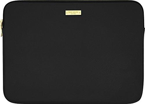 Kate Spade New York Saffiano Sleeve für Microsoft Surface Pro 3 / Pro 4 / Pro (2017) - von Microsoft zertifiziert (schwarz) [Saffiano-Design | Goldener Reißverschluss | Pinkes Innenfutter] - KSSP-001-BLK-INT
