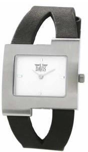 Davis 1402 Women's Analog Quartz Steel Watch with Black Leather Strap